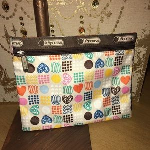 LeSportsac Flat zip Pouch Cosmetic Bag